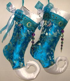 Peacock Teal Oriental Christmas Stocking shimmering Brocade Jester Toe Elf Toe for the Holidays