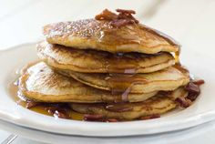 Gluten Free Maple Oat Bacon Pancakes (can also be made dairy-free, and with coconut oil instead of bacon fat = vegan)
