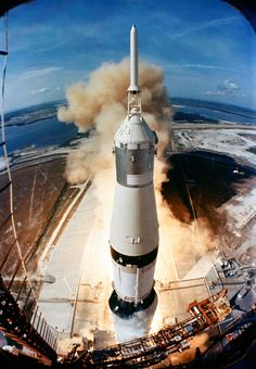 Launch of Apollo 11: On July 16, 1969, the huge, 363-feet tall Saturn V rocket launches on the Apollo 11 mission from Pad A, Launch Complex 39, Kennedy Space Center, at 9:32 a.m. EDT. Onboard the Apollo 11 spacecraft are astronauts Neil A. Armstrong, commander; Michael Collins, command module pilot; and Edwin E. Aldrin Jr., lunar module pilot. Apollo 11 was the United States' first lunar landing mission.
