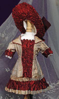 FANCY FRENCH BURGUNDY & TAN SILK BEBE DRESS & BON