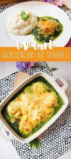 Low Carb Curryhähnchen auf Spinatbett #glutenfrei