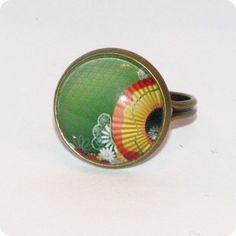 "Inel cabochon ""Japanese"" Gemstone Rings, Enamel, Japanese, Gemstones, Accessories, Jewelry, Vitreous Enamel, Jewlery, Japanese Language"