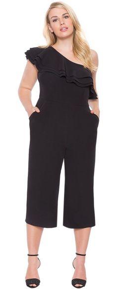 Plus Size One Shoulder Ruffle Jumpsuit