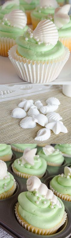 ♔ Coconut Dream Cupcakes recipe~Just the right amount of coconut flavor mixed into moist and airy white cake mix. Topped with Italian buttercream frosting and white chocolate spiked with coconut flavoring.