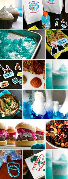Breaking Bad Party Ideas and Menu – Bakin' Bit - Einweihungsfeier Ideen Breaking Bad Party, Breaking Bad Birthday, Laura Lee, Breking Bad, Food Themes, Party Entertainment, Party Planning, Party Time, Party Favors