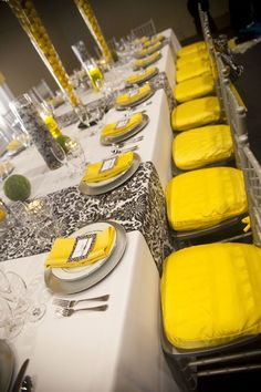 Black yellow silver and white wedding reception i like the wedding reception ideas efestivities junglespirit Image collections