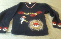 Pokemon Boys Sz Large Vtg Pullover V Neck Sweater Awesome Gamers #POKEMON #Pullover