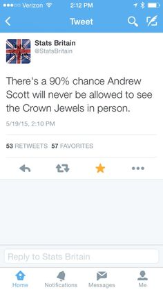 Stats Britain predicts that Andrew Scott will probably never be allowed near the crown jewels.