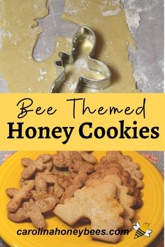 Making homemade honey cookies has never been easier. This Crispy Honey Cookie Recipe using bee shaped cookie cutters are also too cute to eat. But eat them anyway - they are delicious. #carolinahoneybees