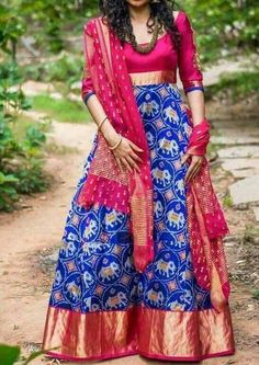 For pure POCHAMPALLY ikat silk sarees, ikkat lehengas, duppatas and ikkat fabrics, cotton sarees, cotton duppatas please call or WhatsApp us on Half Saree Designs, Lehenga Designs, Kurta Designs, Saree Blouse Designs, Dress Designs, Long Gown Dress, Sari Dress, Anarkali Dress, Saree Gown