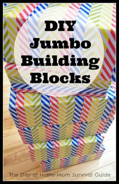 Great idea for upcycling old shoe boxes or large food boxes-make jumbo building blocks for the kids. Idea from The Stay-at-Home-Mom Survival...