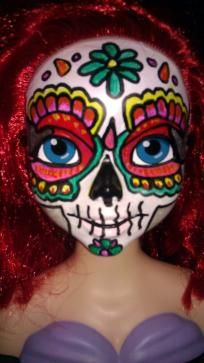 OOAK Ariel Day of the Dead Makeup Handpainted Sugar Skull Doll Head Bust $24.95