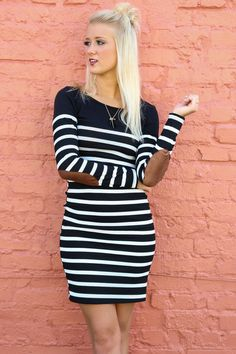 Shadow in the Night Striped Long Sleeve Dress With Contrast Elbow Patches