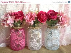 BLACK FRIDAY SALE 3 lace covered mason jar vases