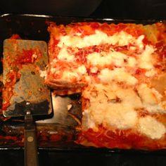 Healthy lasagna..sautéed onion and garlic in olive oil, added mushrooms, ground turkey, spinach, garden pasta sauce, half ricotta half cottage cheese topped with mozzarella..yummmm