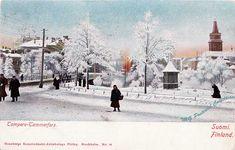 Talvinen näkymä Ruuskasen talon kulmalta kohti Kauppatoria (nyk. Keskustori) 1900-luvun alun väritetyssä postikortissa. Hämeensillalla erottuu hevosajuri eli vos(s)ikka. Huomaa myös kioski Koskipuistossa nykyisen ravintola Rosson paikkeilla. Vintage Postcards, Finland, Outdoor, Historia, Vintage Travel Postcards, Outdoors, Outdoor Living, Garden