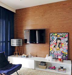 Sala de Tv com painel de madeira #interiordesign #homedecor #living #decoração #apartamentodecorado #tvlounge