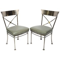 Set of 4 Neoclassical Brushed Steel Side Chairs | From a unique collection of antique and modern chairs at https://www.1stdibs.com/furniture/seating/chairs/