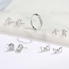 925 Sterling Silver Stud Square Earrings Christening Day Wedding Communion Gift