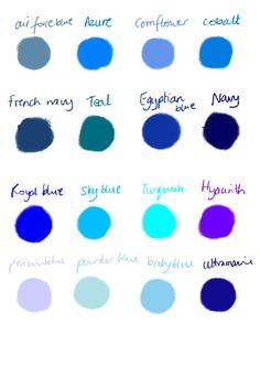 Wedding bridesmaids blue dresses shades Ideas for 2019 Blue Color Schemes, Navy Blue Color, Wedding Color Schemes, Color Combos, Cobalt Blue, Periwinkle Color, Blue Colors, Turquoise Color, Purple