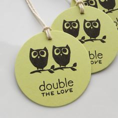 Twin Baby Shower Tags Owls Double the Love - Set of 6 - Baby Shower Favor Tags Twins. $4.75, via Etsy.