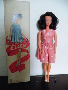 C. Ottolini barbie, Ellen mint in box, origineel jurkje en schoentjes, standaard