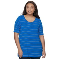 Juniors' Plus Size SO® Elbow Sleeve Tunic Tee, Teens, Size: 2XL, Blue (Navy)