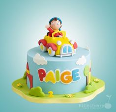 Noddy Cake by Little Cherry Toddler Birthday Cakes, Boys First Birthday Cake, Noddy Cake, Fondant Flower Cake, Cherry Cake, Sugar Cake, Cakes For Boys, Cute Cakes, Ideas Para Fiestas