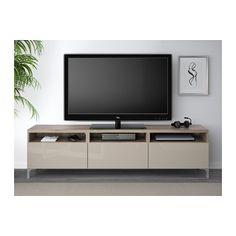 BESTÅ TV unit with drawers - walnut effect light gray/Selsviken high-gloss/beige, drawer runner, soft-closing - IKEA