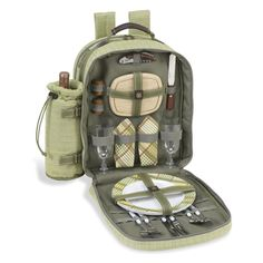 Picnic At Ascot Hamptons Picnic Backpack for 2 - Olive Green - 080-H