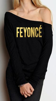 Perfect for any #Fiance #Bride to be! FEYONCE Sweater - #FEYONCE Gold Print OFF Shoulder Long Sleeve Shirt.