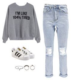 """""""104% tired"""" by algodaodoce9 ❤ liked on Polyvore featuring Boohoo, adidas Originals, Jewel Exclusive and Iosselliani"""