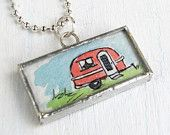 Pink Airstream Camper and Pennant Pendant, Watercolor Miniature Wearable Art, Pink and Teal