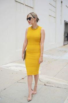 yellow pencil cut dress