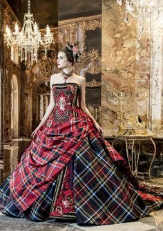 Tartan ball gown in Jamie's family tartan and mine. Just off the chain gorgeous! :D Haute Couture Plaid Carefully selected by GORGONIA www. Mode Tartan, Tartan Plaid, Tartan Dress, Tartan Wedding Dress, Beautiful Gowns, Beautiful Outfits, Gorgeous Dress, Tartan Fashion, Mode Inspiration