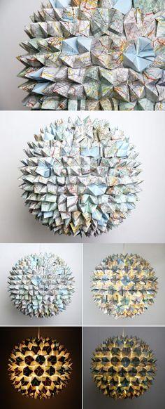 lampara origami papel 3 mapas DIY ingenioso #OrigamiLamp