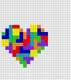 Tetris Heart Perler Bead Pattern