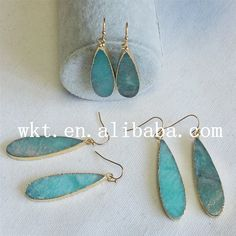 WT-E196 Wholesale natural amazonite long teardrop earring,fashion elegnt gold plated raw dangle earring by WKTjewelry on Etsy