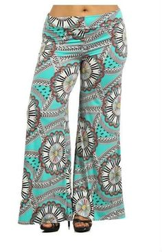 Plus Size Mint Multi-Color Chevron Print Full Wide Leg High Waist Palazzo Pants #GingasGalleria #Palazzo