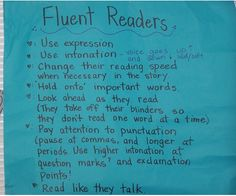 Good anchor chart for reading fluency.