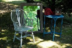 French Linen Windsor chair, Aubusson Blue side table, Coco mirror, and Emperor's Silk corbel