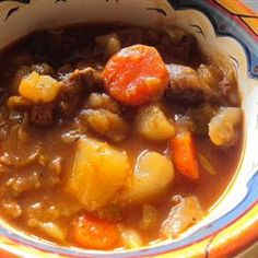 Beef, cabbage, and potatoes are simmered in a tomato-based broth for a hearty and warm beef stew. Oxtail Recipes, Crockpot Recipes, Soup Recipes, Great Recipes, Cooking Recipes, Recipies, Favorite Recipes, Whole30 Recipes, Cooking Ideas