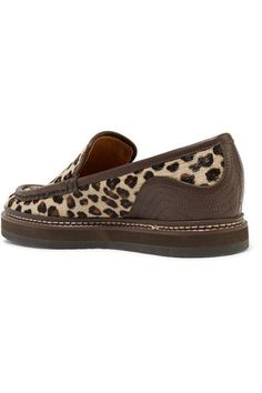51d33ae9c00a See By Chloé - Leather-trimmed leopard-print calf hair loafers