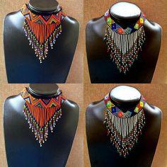 Zulu beaded choker chandeliers necklace by ZuluBeads on Etsy African Beads Necklace, Beaded Choker Necklace, Fringe Necklace, African Jewelry, Bead Earrings, Beaded Bracelets, Zulu, Seed Bead Bracelets Tutorials, African Accessories