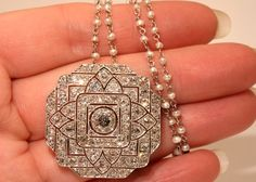 Spectacular Platinum Art Deco 6+ carat Diamond Pendant