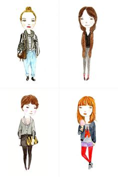 Illustration prints by Helena of Pop Pop Portraits.  (via Gifted Magazine)
