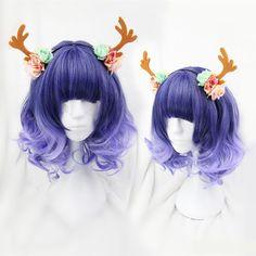 Purple Lolita Curly Short Hair Wig SE7922