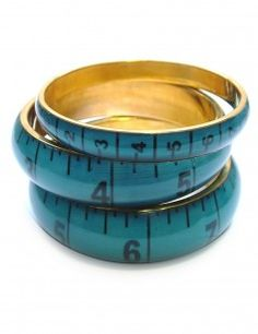 love this! Tape Measure Bangle Set - Petrol Blue from rose and grey