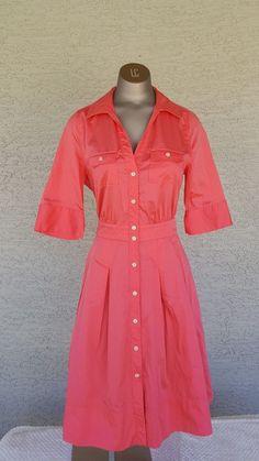 Ivanka Trump TINA Sz 8 Coral Safari Buttondown Shirt Dress Chest Pockets Pleaded   eBay