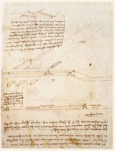 Page: Canal bridge  Artist: Leonardo da Vinci  Completion Date: c.1495  Place of Creation: Milan, Italy  Style: High Renaissance  Genre: sketch and study  Technique: ink  Material: paper  Dimensions: 27 x 20 cm  Gallery: Biblioteca Ambrosiana, Milan, Italy